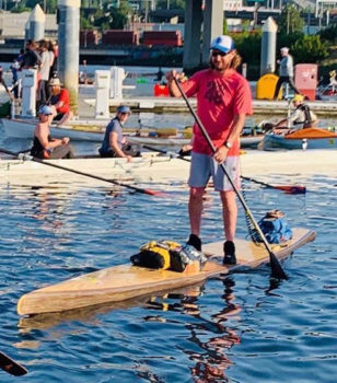 SBP instructor Alan Lamp on his 18' Good Story SUP at the 2019 Seventy48